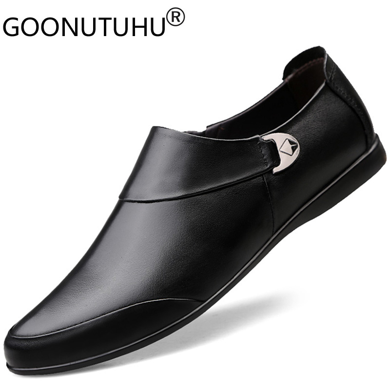 2020 Fashion Men's Shoes Casual Genuine Leather Cow Loafers Male Classics Brown Black Big Size 46 Shoe Man Driving Shoes For Men