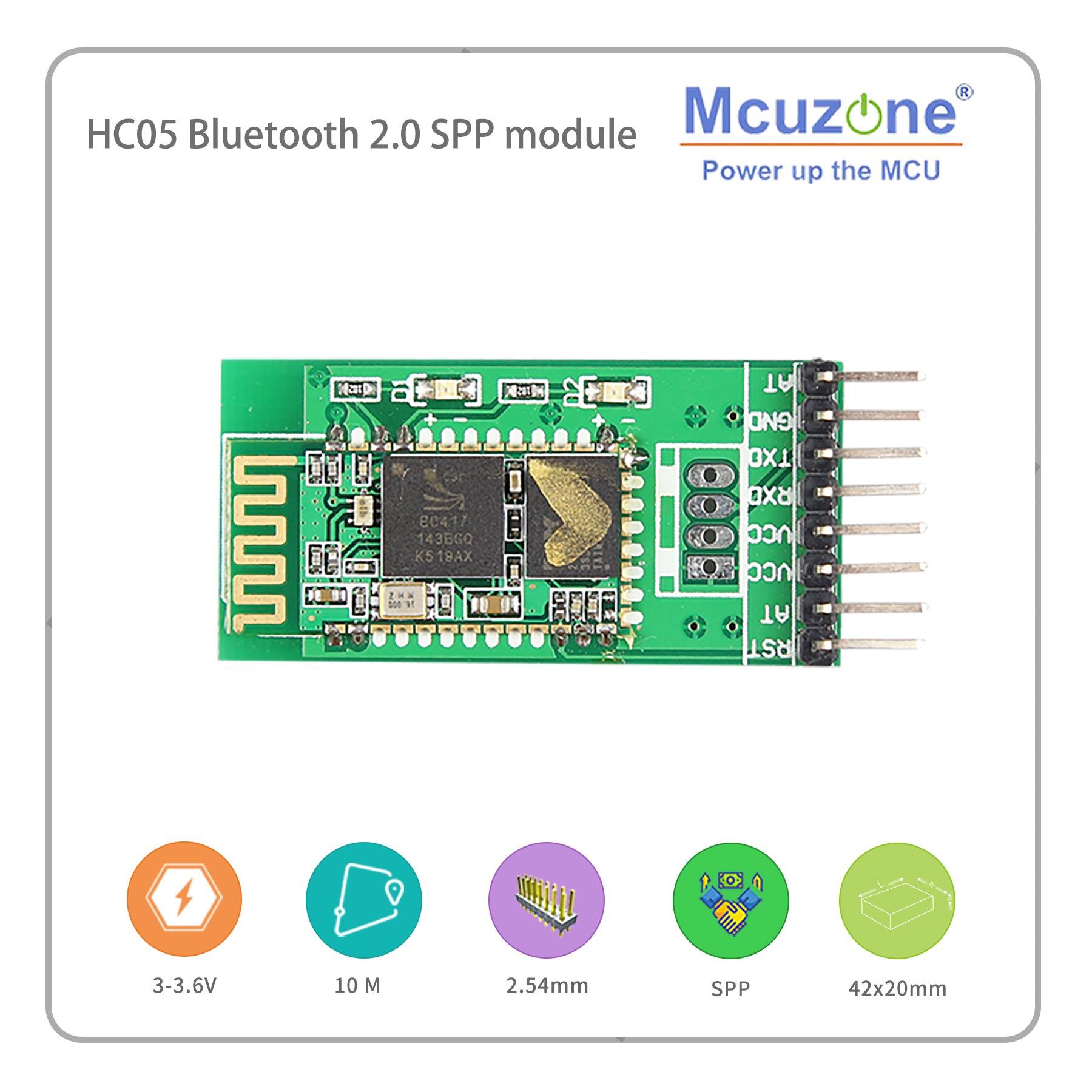 Mcuzone HC05 Bluetooth 2.0 BT SPP Module, For Arduino Linux MCU, Android App UART