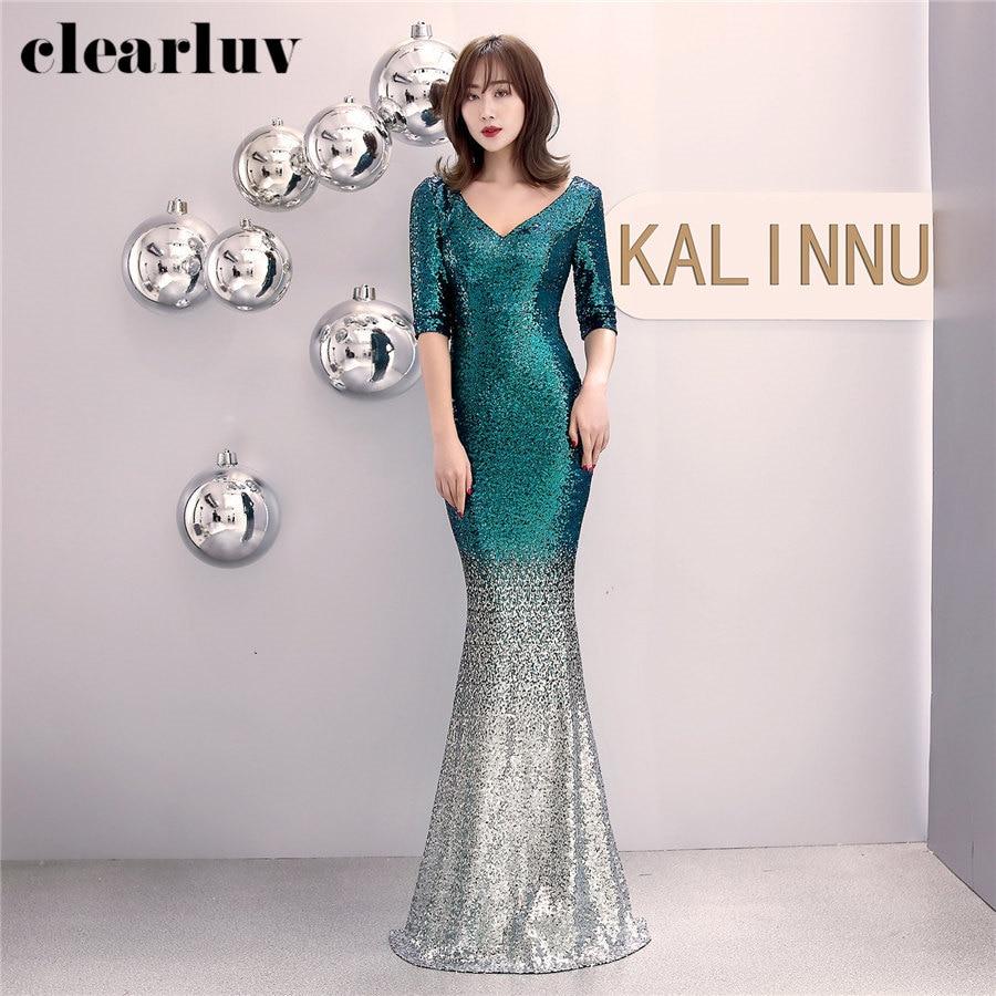Sequins Evening Dresses 2020 Plus Size Half Sleeve Robe De Soiree DX298 Sexy Slim Women Party Dresses Long Elegant Formal Dress