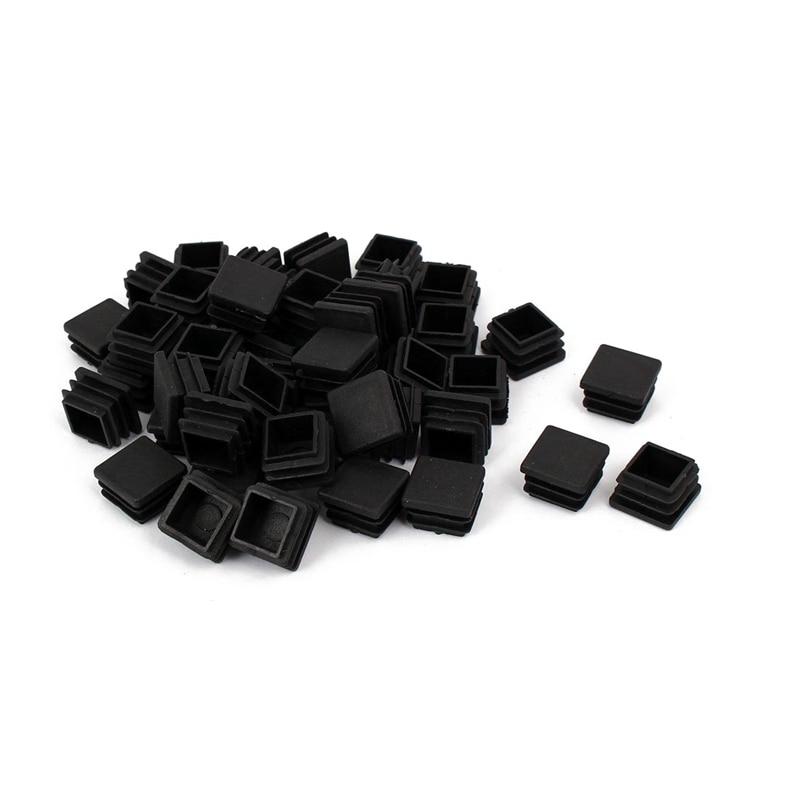 Chair Leg Plastic Blanking End Cap Square Tube Insert Black 20mmx20mm 50pcs