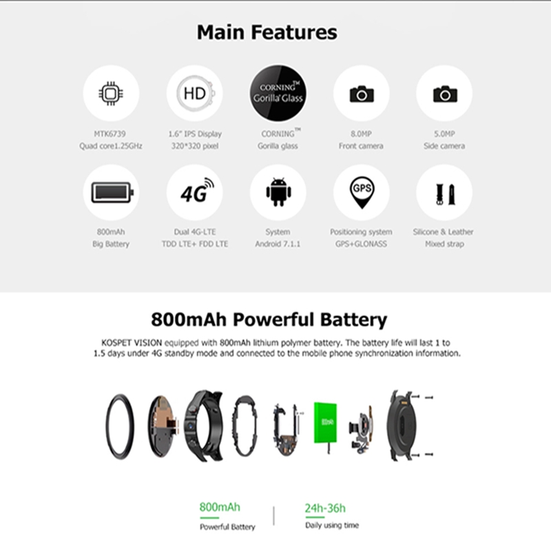 Kospet Vision 3G + 32G 8.0MP Cámara Dual frontal 4G LTE videollamada 800mAh Google Play cámara de búsqueda de voz Smart Watch teléfono - 6