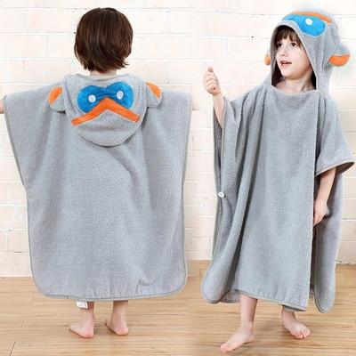 Bath Towel For Children Pure Cotton Toweling Bathrobe Hooded Cloak Baby Mantle Beach Towel Bathrobe Pullover Bathrobe