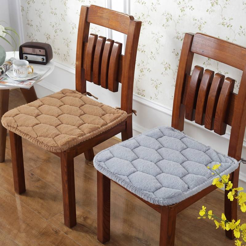 Plush Chair Seat Cushion With Bind Seat Cushion Pure Color Chair Pad Winter Seat Cushion Square Pad Fart Pad Dining Chair Mat