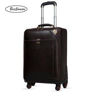 Image 2 - BeaSumore 男性本革ローリング荷物スピナーレトロ牛革ホイールスーツケース 16 インチキャビンビジネストロリー