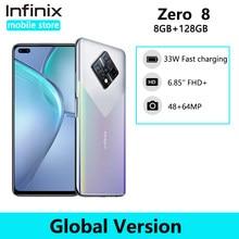 Versão global infinix zero 8 8gb 128gb telefone móvel 6.85 fffhd 90hz tela cheia 64mp quad câmera 4500mah bateria 33w carregador