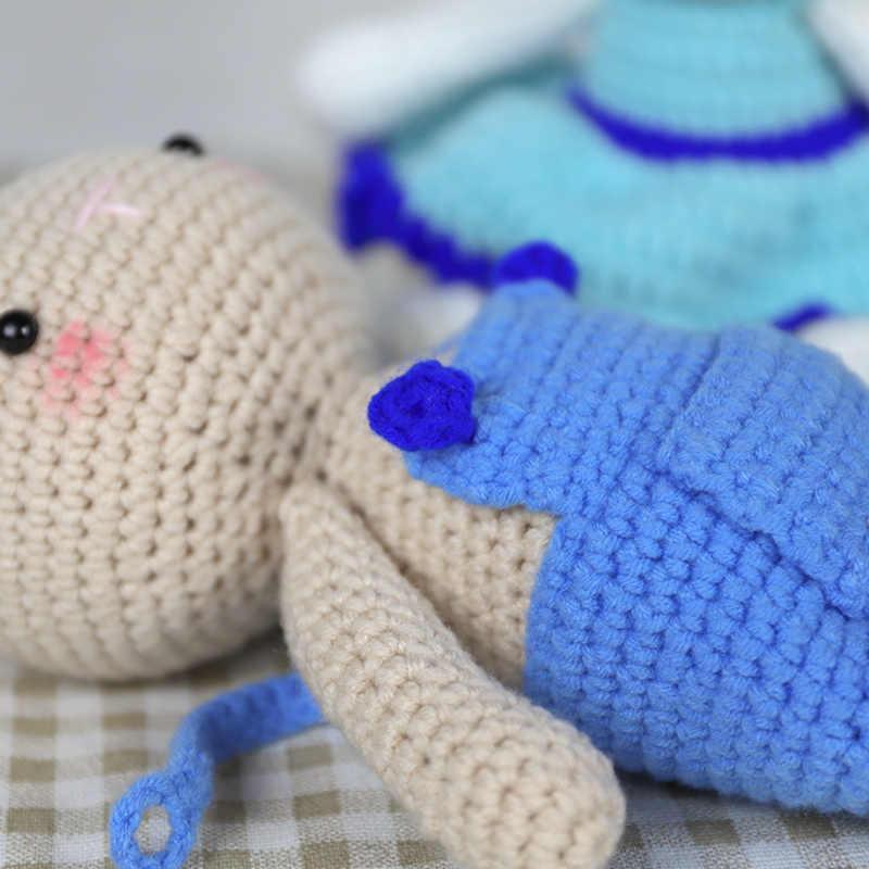 Juguete de tejido de punto sin terminar de estilo nórdico Diy conejo familia dinosaurio de juguete cuerda de algodón juegos de juguetes Kit de regalo de cumpleaños