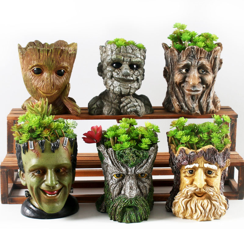 Tree Root Resin Flower Pots Lion Dog Succulent Pots Create Design FRANKENSTEIN Flower Pot Home Garden Bonsai Pots Garden Pots