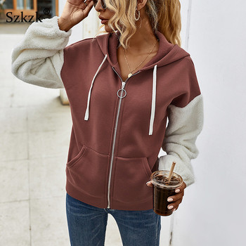 Szkzk Color Block Loose Hooded Sweatshirt Warm Coats And Jackets Women Fall 2020 Winter Long Sleeve Zip Up Sexy Coat With Pocket sport hoodie coat femme long sleeve zip up sweatshirt with elastic hem front big volume pocket pullovers women workout