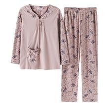 New Cotton Autumn Winter Women Pajamas Sets Nightgown Female