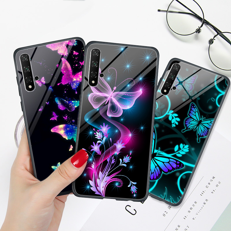 Honor 20 PRO Case Super Bright Butterfly Phone Cover FOR Huawei Honor 8A 8X 8C 8S 7A 7C 9 Lite 10 10i Hard PC Capa Honor 10 Lite
