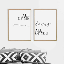 Love Quote Poster Print All Of Me Loves All Of You Couple Print Canvas Painting Wall Pictures Bedroom Decor Anniversary Gifts cheap Wedecor Canvas Printings Single Waterproof Ink Letter Unframed Realist Spray Painting Vertical Rectangle we100