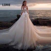 LORIE Lace Wedding Dresses 2019 Illusion Long Sleeve Long Train Lace With Appliques vestido de casamento Whith Ivory Bride Dress