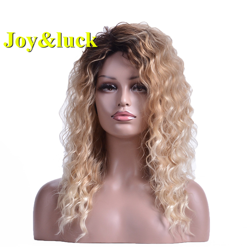 Alegria & sorte onda de água marrom ombre loira raiz escura perucas sintéticas com franja cabelo encaracolado perucas cosplay ou estilo diário do cabelo
