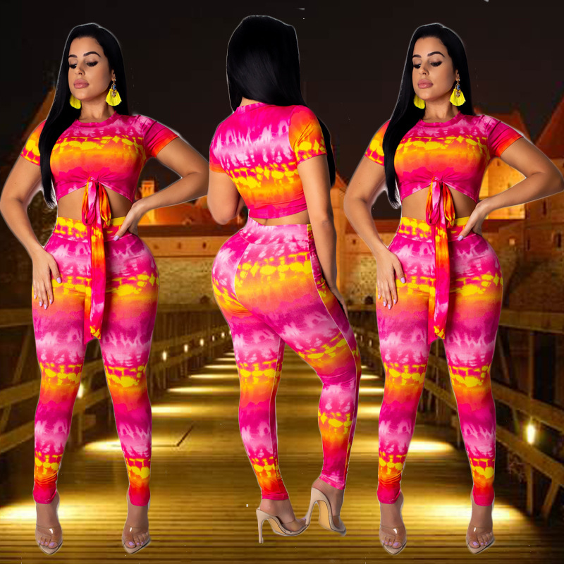 Europe And America Za Zhi Wang Red Celebrity Style 2019 Summer Printed Tie-dye Tops Tight Trousers Two-Piece Set Large Size WOME