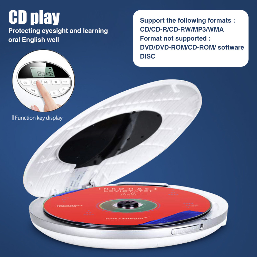 Portable CD Player Round Music Support TF Card Multifunctional Battery Powered Small Compact USB AUX 3.5mm Jack Anti Skip Car