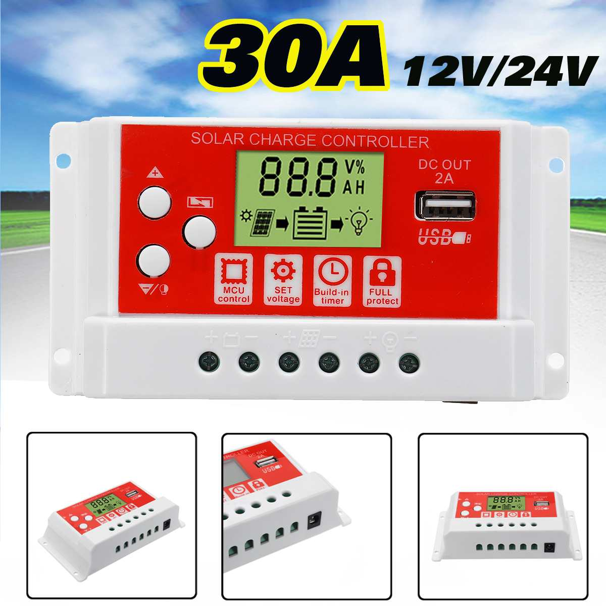 Newest <font><b>30A</b></font> <font><b>Solar</b></font> <font><b>Charge</b></font> <font><b>Controller</b></font> 3-Stage <font><b>PWM</b></font> Dual USB LCD Display 12V 24V Auto <font><b>Solar</b></font> Cell Panel Charger Regulator with Load image