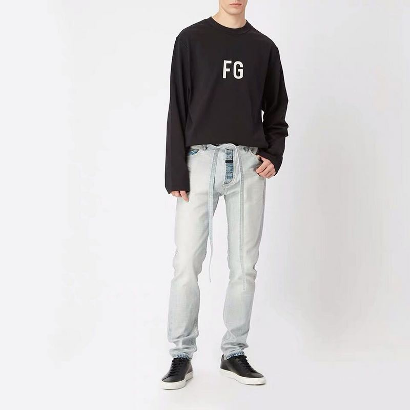 2019 Fog Best Version 1:1 Light Washed Men God's Fear Style Denim Jeans Hiphop Streetwear Skinny Fit Men Jeans Pants Trousers