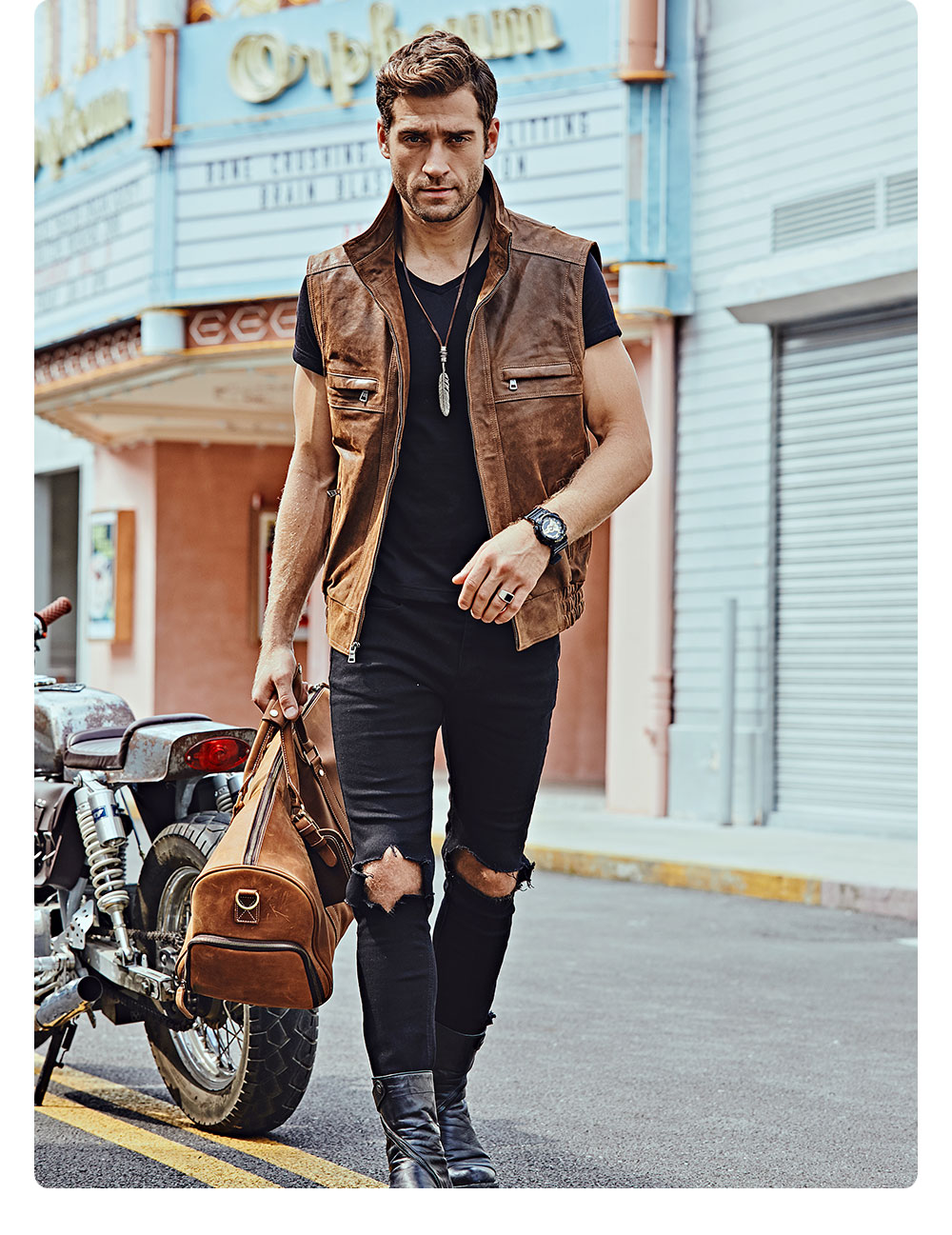 Hf50700f2d0f3476fb8b303626004b0d0w Mew Men's Leather Retro Vest Stand Collar Men's Motorcycle Casual Vest
