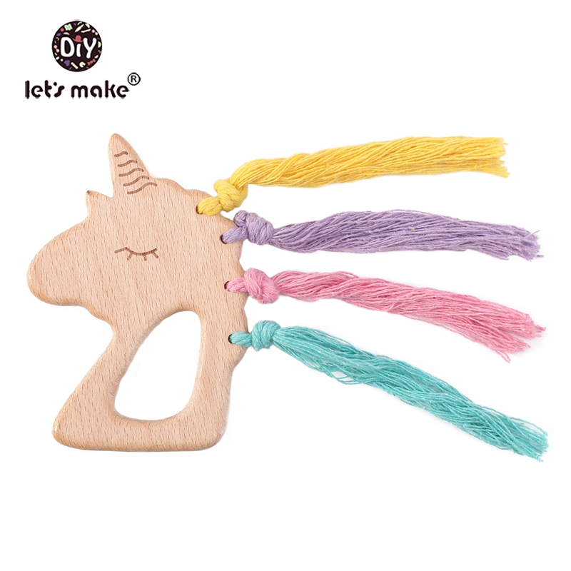 Let's Make Baby Wooden Teether Ring Colorful Cotton Wooden Unicorn Teething For New Born Toys Play Gym Accessories Diy Teethers