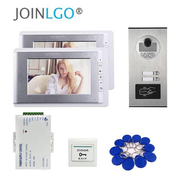 """ฟรีSHIPP 7 """"LCDประตูวิดีโอโทรศัพท์ระบบอินเตอร์คอมRFID Accessกล้องกลางแจ้งสำหรับ2 Family Apartmentจัดส่งฟรี"""