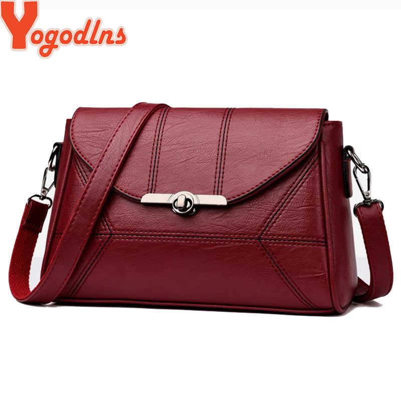 Yogodlns Einfache Designer Frauen Schulter Tasche Mode Handtasche und Geldbörse PU Leder Umhängetaschen für Frauen 2019 Neue Schwarz & weinrot