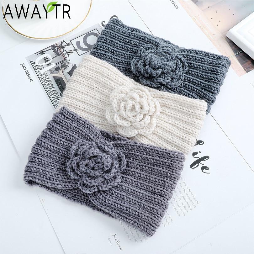 AWAYTR Bow Twist Wide Hairbands Flowers Solid Winter Woolen Warm Stretch Headband Women Handmade Knitting Hair Accessories
