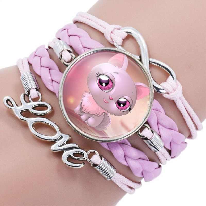 11 stylów śliczny różowy kot nieskończoność skórzana bransoletka mankietowa dla dziewczynek gorąca sprzedaż ręcznie liny bransoletki bransoletki świąteczne prezenty