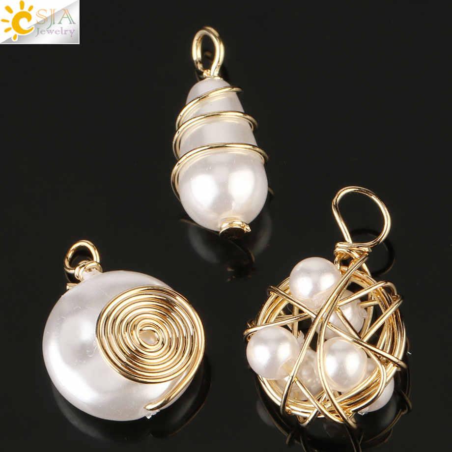 Csja 淡水パール銅線ラップアクセサリー作るためのイヤリング手作りチャーム女性 diy のジュエリー工芸 G254