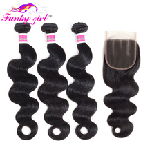 Funky Girl Brazilian Body Wave Hair Bundles With Closure 3/4 Bundles Deal Non Remy Human Hair Weave Bundles With Lace Closure