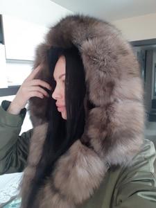 Image 2 - Oftbuy防水リアルファーコートのxロングパーカー冬のジャケットの女性天然フォックス毛皮の襟フード厚く暖かい上着取り外し可能な新