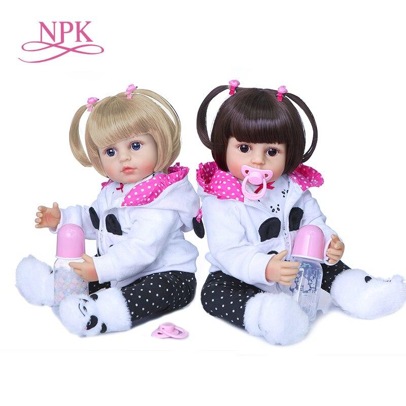 Muñeca de bebé de silicona de cuerpo completo, de 55CM juguete de bebé recién nacido, Princesa de niño niña, dos colores de pelo, NPK