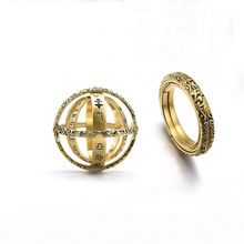 Astronomical Sphere Ball Ring Women Men Foldable Alloy Cosmic Lettering Finger Couple Lover Jewelry Anniversary Gifts