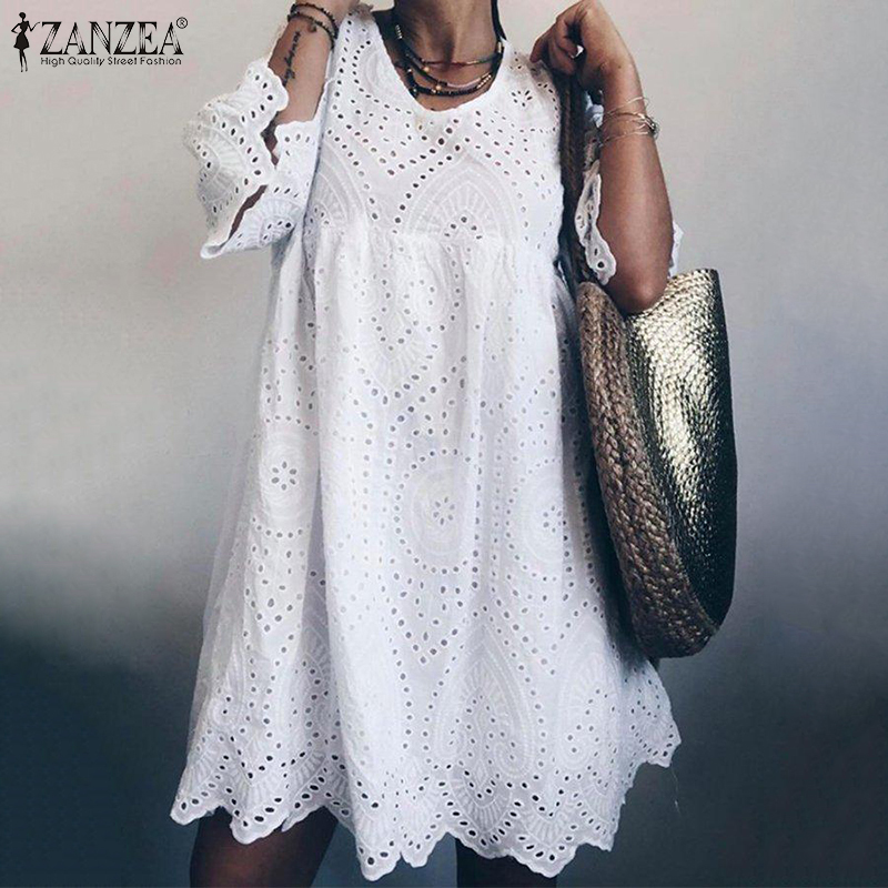 ZANZEA 2019 Bohemain Lace Dress Women's Summer Sundress Fashion Flare Sleeve Knee Length Vestidos Female Hollow Cotton Robe 5XL