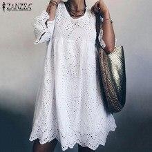 ZANZEA 2021 bohemian dantel elbise kadın yaz Sundress moda parlama kol diz boyu Vestidos kadın içi boş pamuklu elbise 5XL
