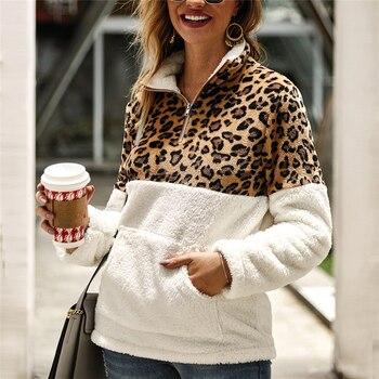 2019 Winter Fleece Sweater Fashion Leopard Patchwork Fluffy Thick Sweaters Warm Zipper Pullovers Women Winter Coat Sherpa Tops 2