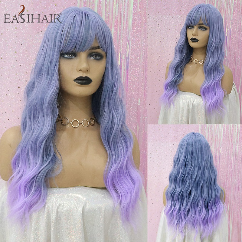 EASIHAIR Long Blue To Purple Ombre Synthetic Wigs With Bangs For Women Colorful High Temperature Cosplay Wig Wave Heat Resistant