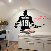 Хоккейная Наклейка на стену-заказное имя хоккейная Наклейка на стену-винил хоккей на льду наклейка-Выберите имя и номер Джерси A1-047