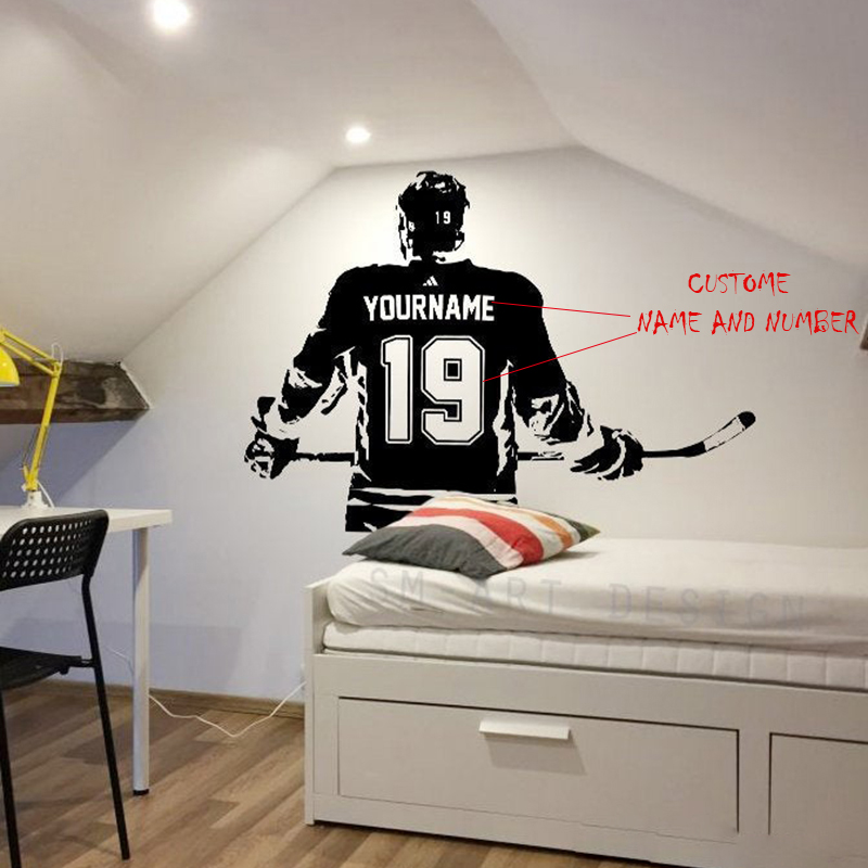 Hockey Vinyl Sticker Custom Name Hockey Decal Hockey Wall Decor Numbers A1-047 Paper ROWNOCEAN Modern Ice Choose Name And Jersey