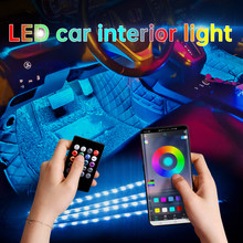 Lumière d'ambiance Led pour voiture, avec USB, allume-cigare, rétro-éclairage, commande musicale, application, rvb, éclairage d'ambiance décoratif d'intérieur