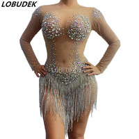 Sexy Latin Dance Costume Sparkly Rhinestones Long Sleeves Mesh Transparent Nude Tassel Bodysuit Bar Party DJ Singer Stage Wear