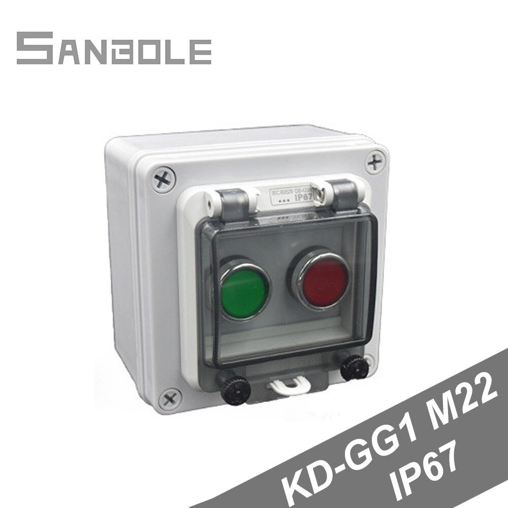 2 положения M22 IP67 Защитная Водонепроницаемая коробка кнопочный переключатель красный/зеленый управление распределительная работа 10A установка