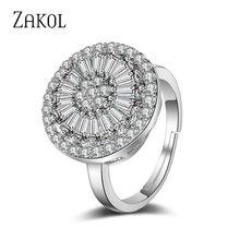 ZAKOL mode quatre couleurs brillant AAA cubique zircone bague de fiançailles de mariage bijoux de luxe pour les femmes cadeaux FSRP2037