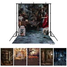 Gothic Room Candlestick Halloween Photo Backgrounds for Sudio Vinyl Backdrop for Portrait Children Photography Props Photocall