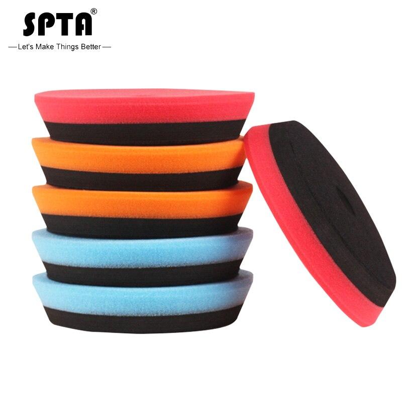 SPTA bileşik parlatma pedleri 5 inç parlatıcı parlatıcı tampon tampon seti DA/RO çift eylem araba parlatıcı zımpara-renk seç