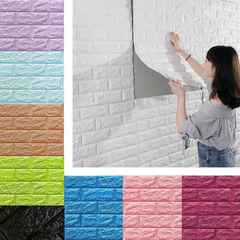 Ziegel wand Aufkleber DIY 3D PE Schaum Tapete Panels Zimmer Aufkleber Stein Dekoration Geprägte Selbst Adhensive 3D Ziegel Wand 77*70cm