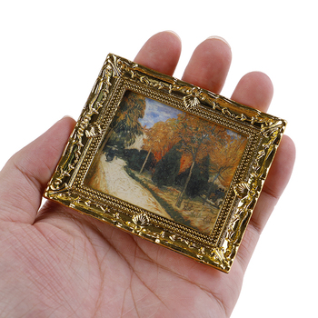 1 Pc Dollhouse Miniature 1:12 Mini Decorative Accessories Antique Frame Oil Painting DIY Doll House Resin Picture Frame 1