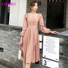 2019 autumn new French retro long-sleeved dress female Knee-Length  Regular Solid Office Lady