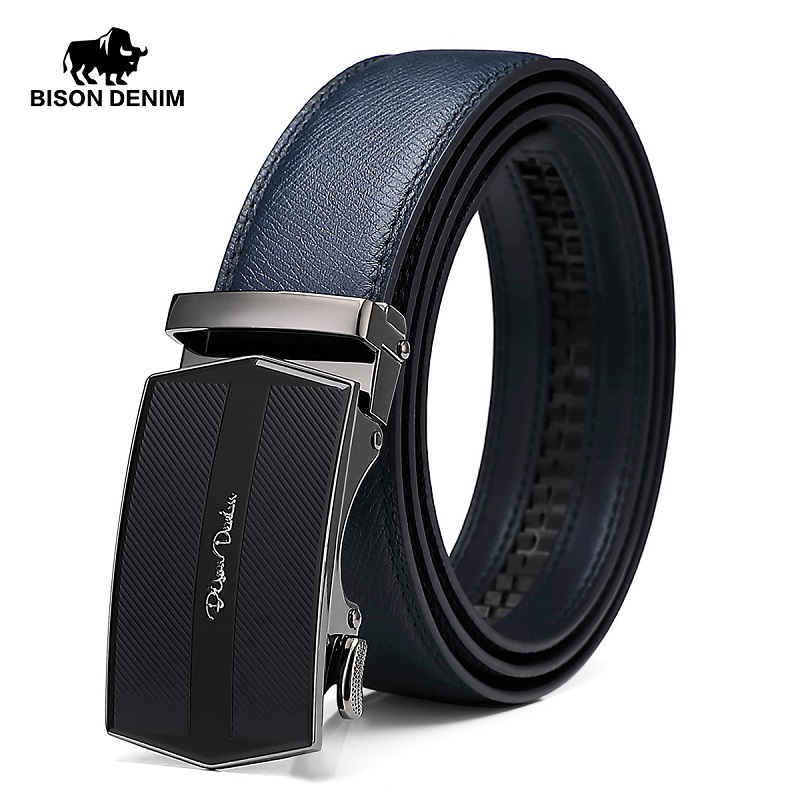 BISON DENIM Genuine Leather Men Belt Alloy Automatic Buckle Luxury First-Layer Cowskin Leahter Blue Strap Belt For Male N71511