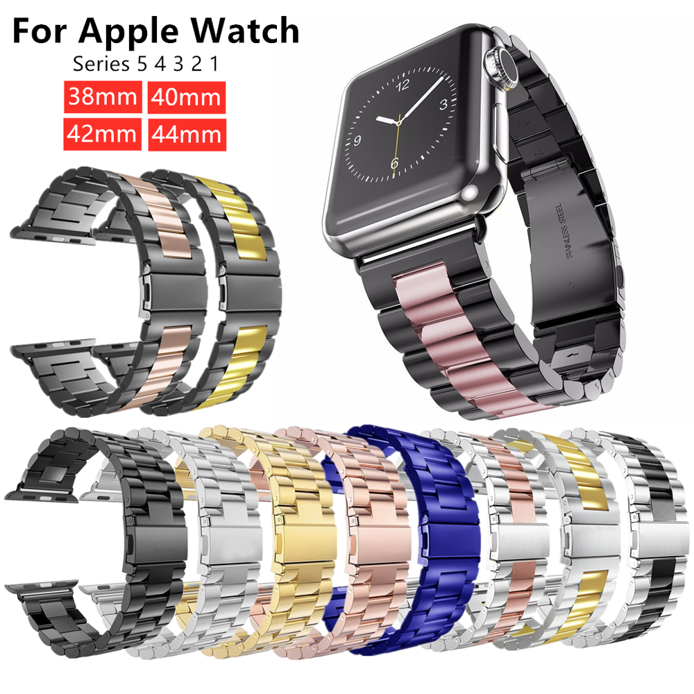 Stainless Steel Three-bead Strap For Apple Watch 42mm 38mm 1/2/3/4 Metal Watchband Bracelet Band For IWatch Series 4 5 44mm 40mm