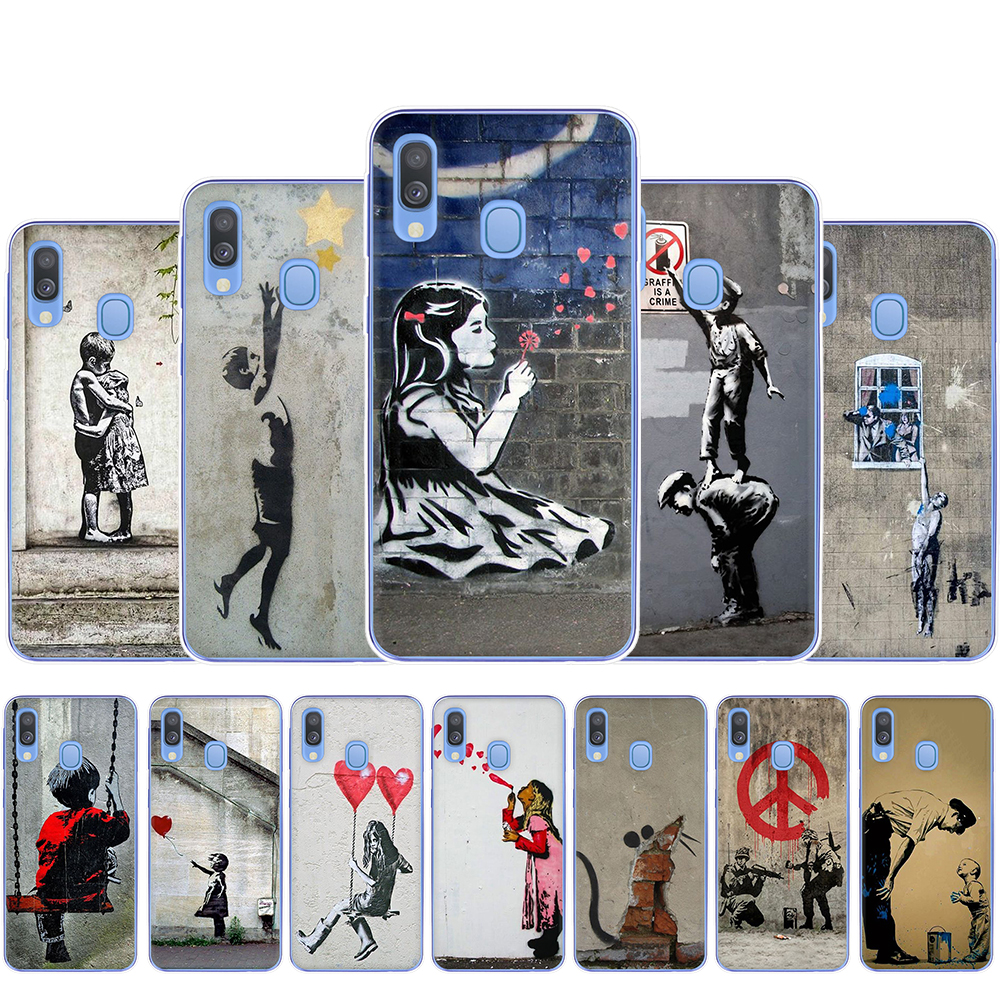 Street Art Banksy Graffiti Hard Phone Case for Samsung A3 A5 A6 A8 Plus A7 A9 A10 A30 A40 A50 A70 image
